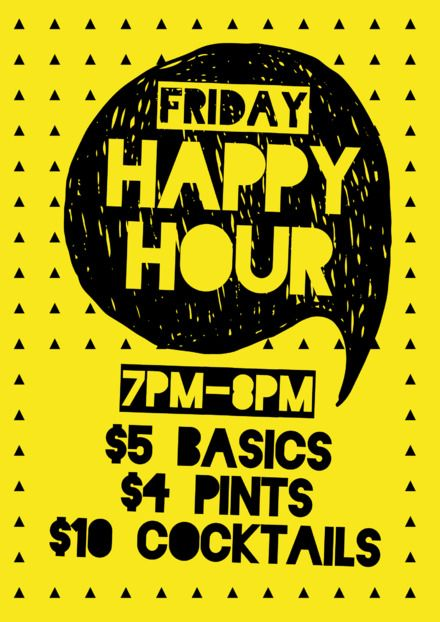 357fcb20bdf DIY Drinks Templates - Easily editable posters, flyers and social media  images about drinks for hospitality. Yellow Happy Hour Poster/Flyer/Template  Design ...