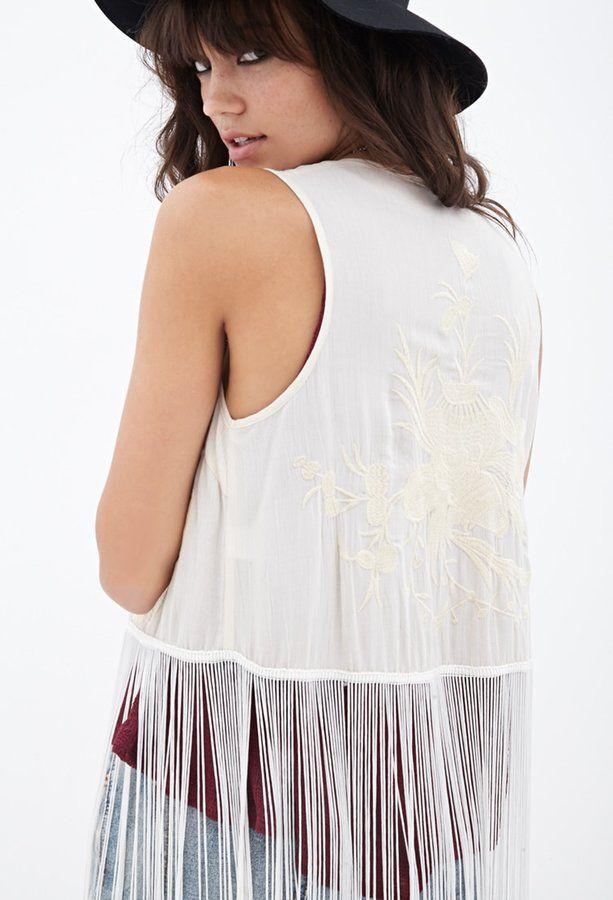 FOREVER 21 Fringed Floral-Embroidered Vest - $16.99