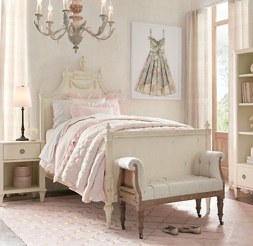 Neoclassical 19th Century Handcrafted Swedish Antique Girls' Bedroom #restorationhardware