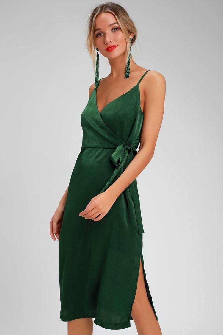 183e95ba9ae6 Lulus | Fall In Love Forest Green Satin Midi Wrap Dress | Size Small ...