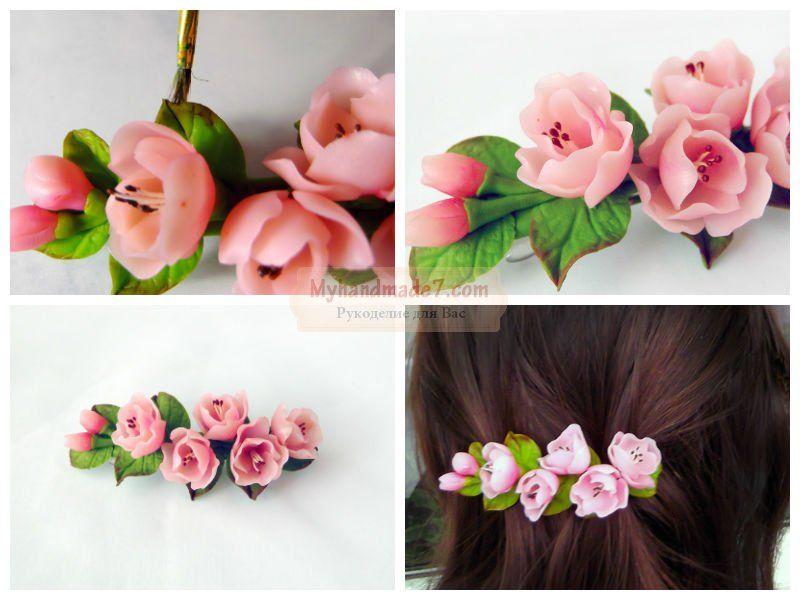 Заколки с цветами для волос мастер класс
