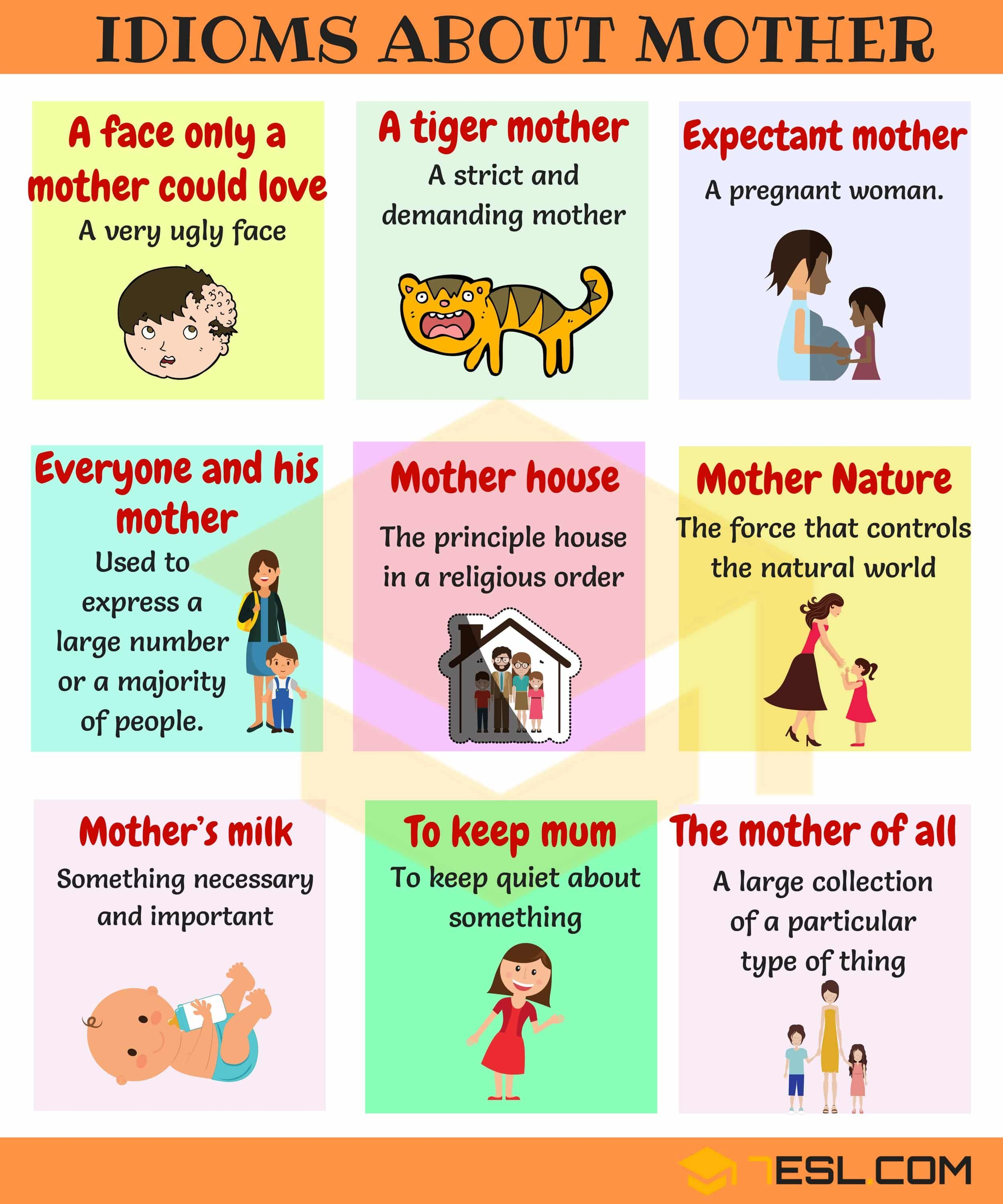 Mother Idioms Useful Phrases And Idioms About Mothers