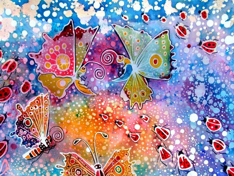 Batik Artists Famous  Batik Butterfly And Lady Birds By -6419