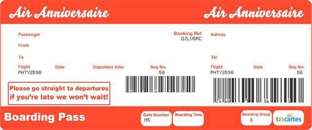 invitation anniversaire en forme de billet d 39 avion imprimer gratuitement identique aux vrais. Black Bedroom Furniture Sets. Home Design Ideas
