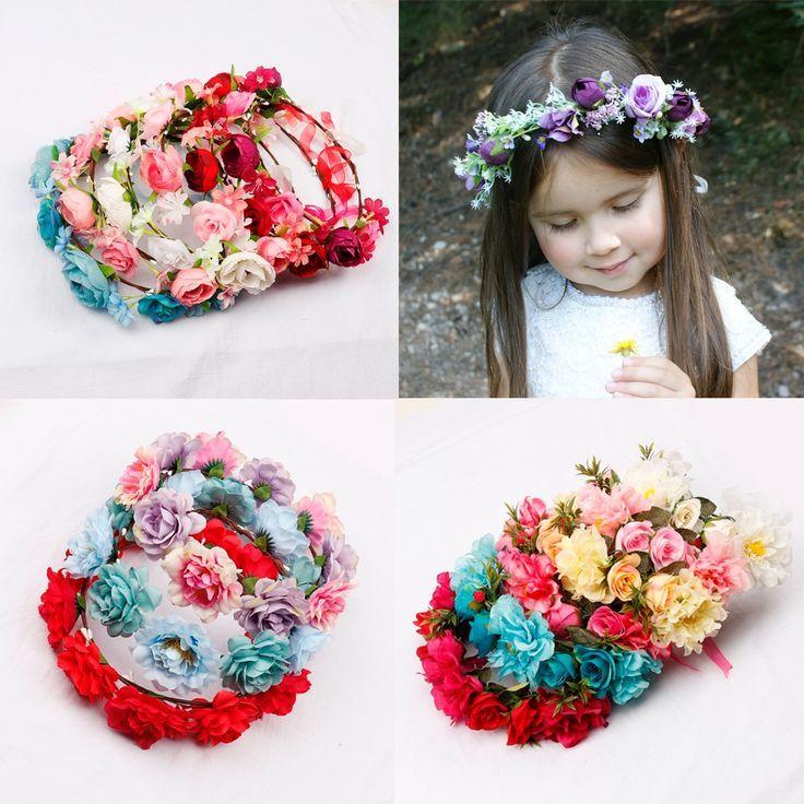 Girls Women Wedding Flower Wreath Flower Headband Floral Hair Garlands Crown