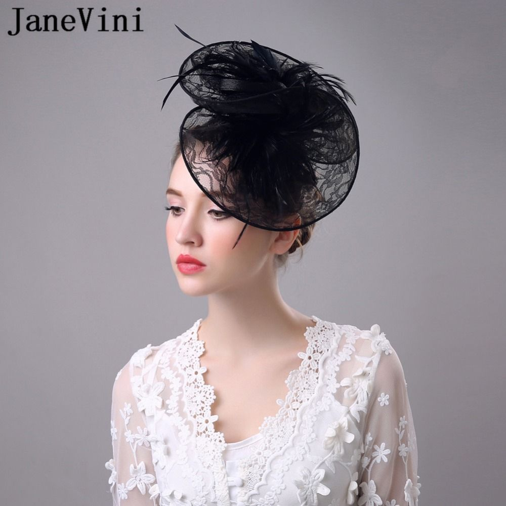 694f464abcd41 JaneVini 2018 High Quality Lace Feathers Fascinator Hats Womens Wedding  Bridal Hats Flower Evening Party Hair Headwear White