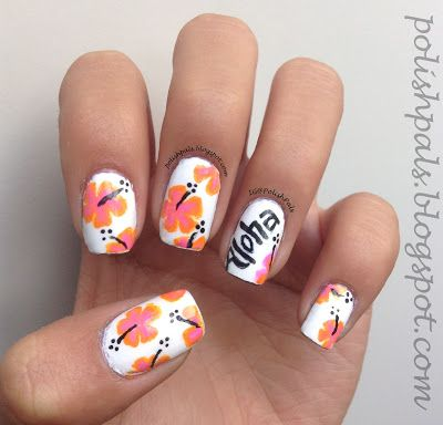 Polish Pals H Is For Hibiscus Nails Nail Art Pinterest