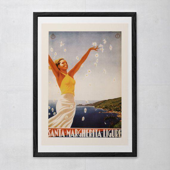 Santa Margherita Poster Genoa Travel Poster Vintage Travel Poster
