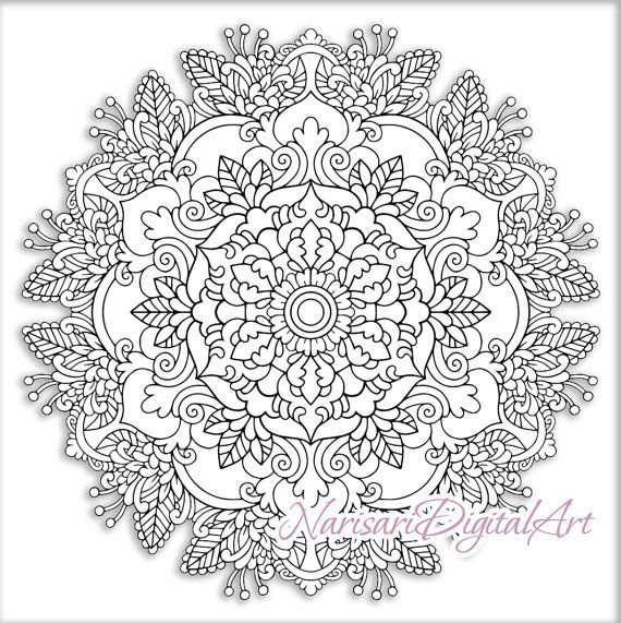 Zen Coloring Floral Mandala Adult Grown Up Book Page