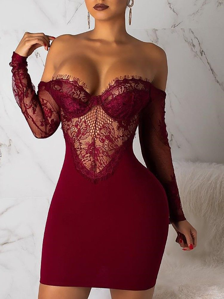 73e5e87055 boutiquefeel   See Through Eyelash Lace Backless Bodycon Dress in ...