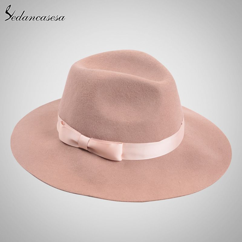 6902e5eac949a Brand Spring Fashion Wide Brim Australian Wool Felt Hat Black Khaki Ladies  Women s Elegant Hats Wholesale Fedora Caps Love it   shop  beauty  Woman s  ...