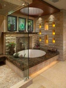 Bad Modern Gestalten Mit Licht_modernes Badezimmer Im Asiatischen Stil Mit  Runder Badewanne Und Wandgestaltung Mit Kerzen In Wandnischen