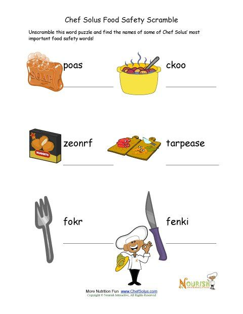 Young readers will enjoy this food safety word scramble puzzle - food safety quiz