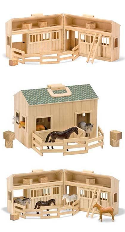 Melissa And Doug Fold And Go Stable Set Childrens Pony Toys