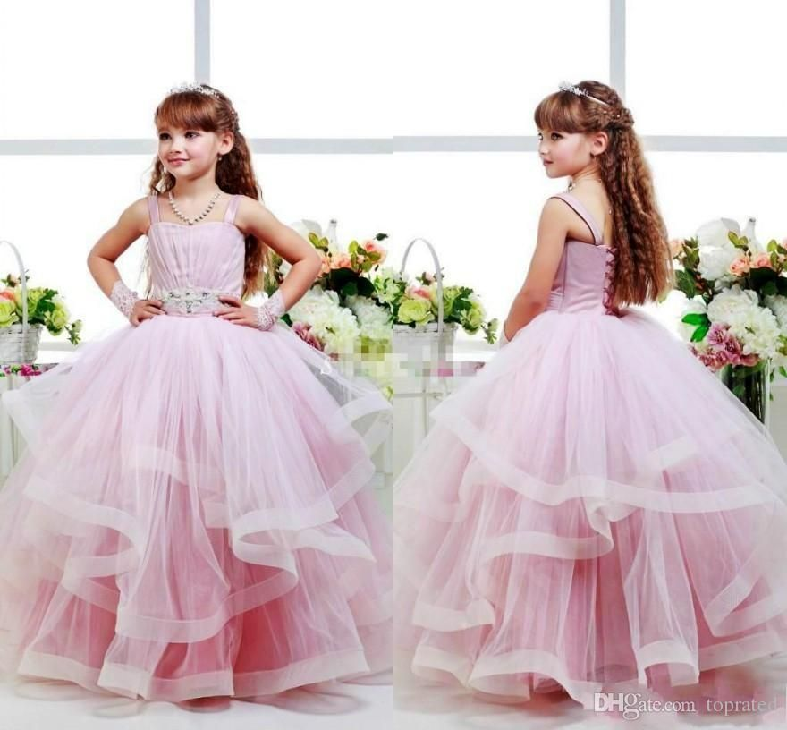 Pink Glitz Flower Girls Dresses Ball Gowns 2016 Spagheti Strap Kid ...