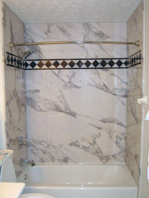 Acrylic Bathtub with Calcutta Gold Wall Surrounds | Shower & Tub ...