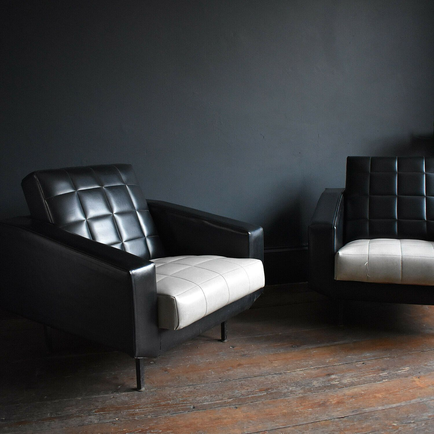 Pair Of Vintage 1950s Vinyl Armchairs Two Black And White Mid