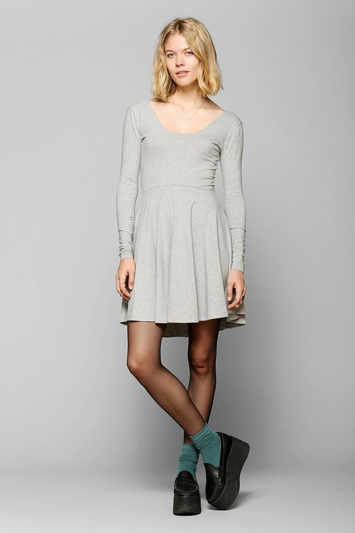 5cfd086968 Sparkle   Fade Long-Sleeve Knit Skater Dress  urbanoutfitters