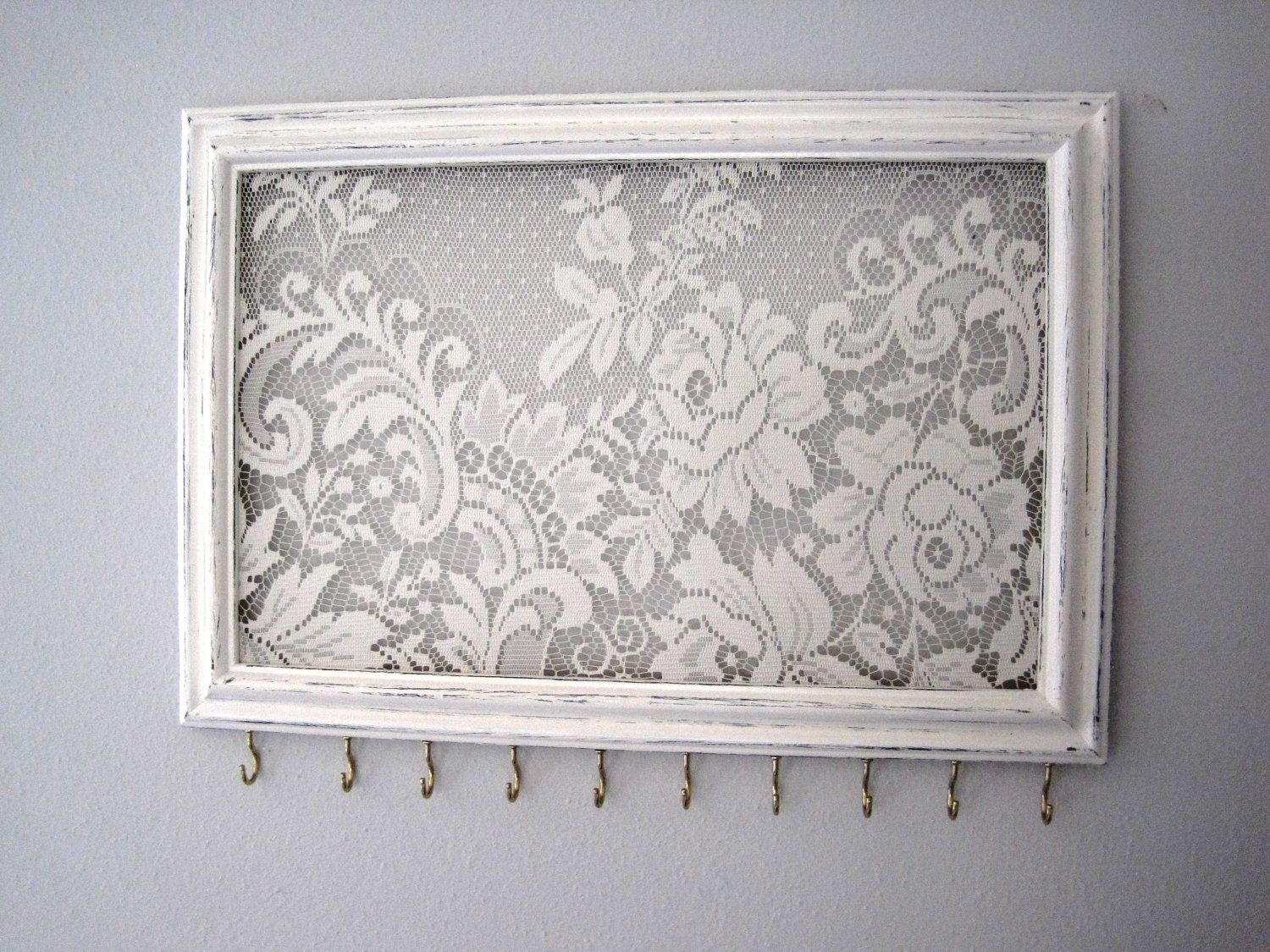 Jewelry Hanger Accessory Organizer White Flower Lace Hooks