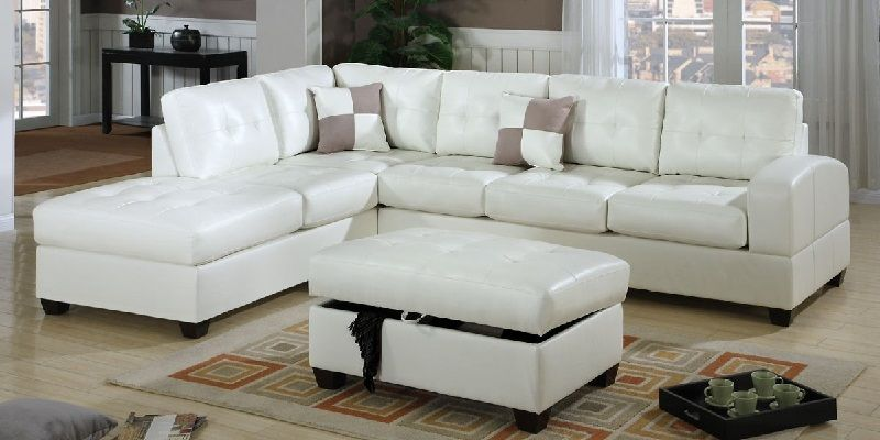 White Leather Sectional Sofa With Ottoman Ebay Set India Charmaine Off And Design Ideas