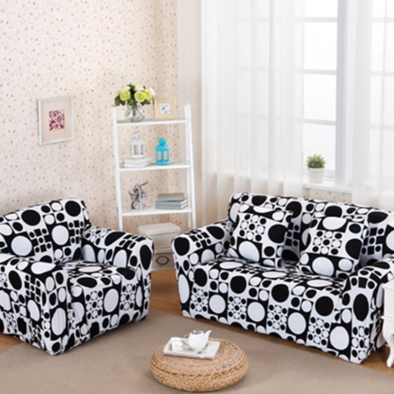 Black And White Geometric Stretch Elastic Fabric Sofa Cover Circle Pattern L Shape 3 Seater Single Double Slipcover