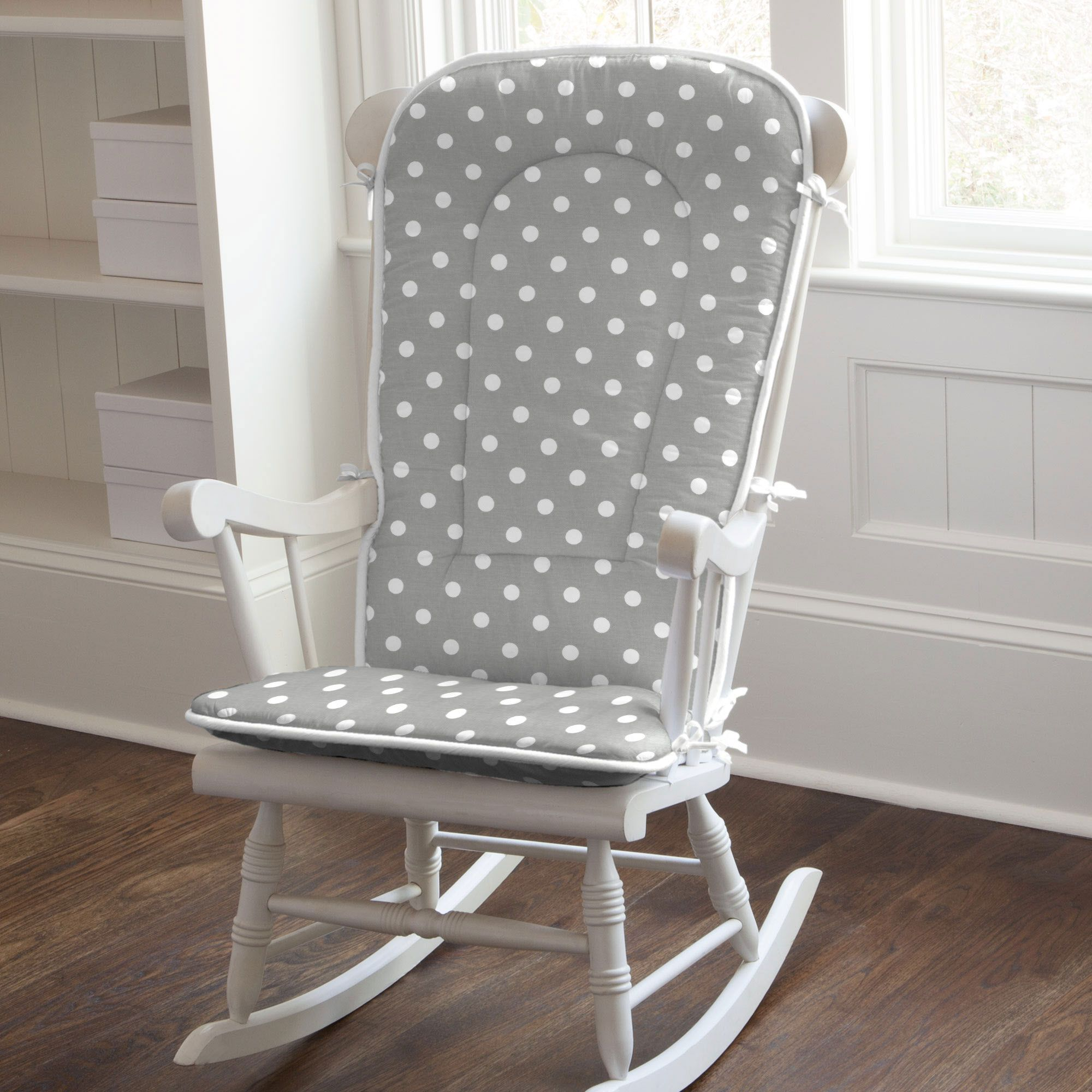 Gray and White Dots and Stripes Rocking Chair Pad