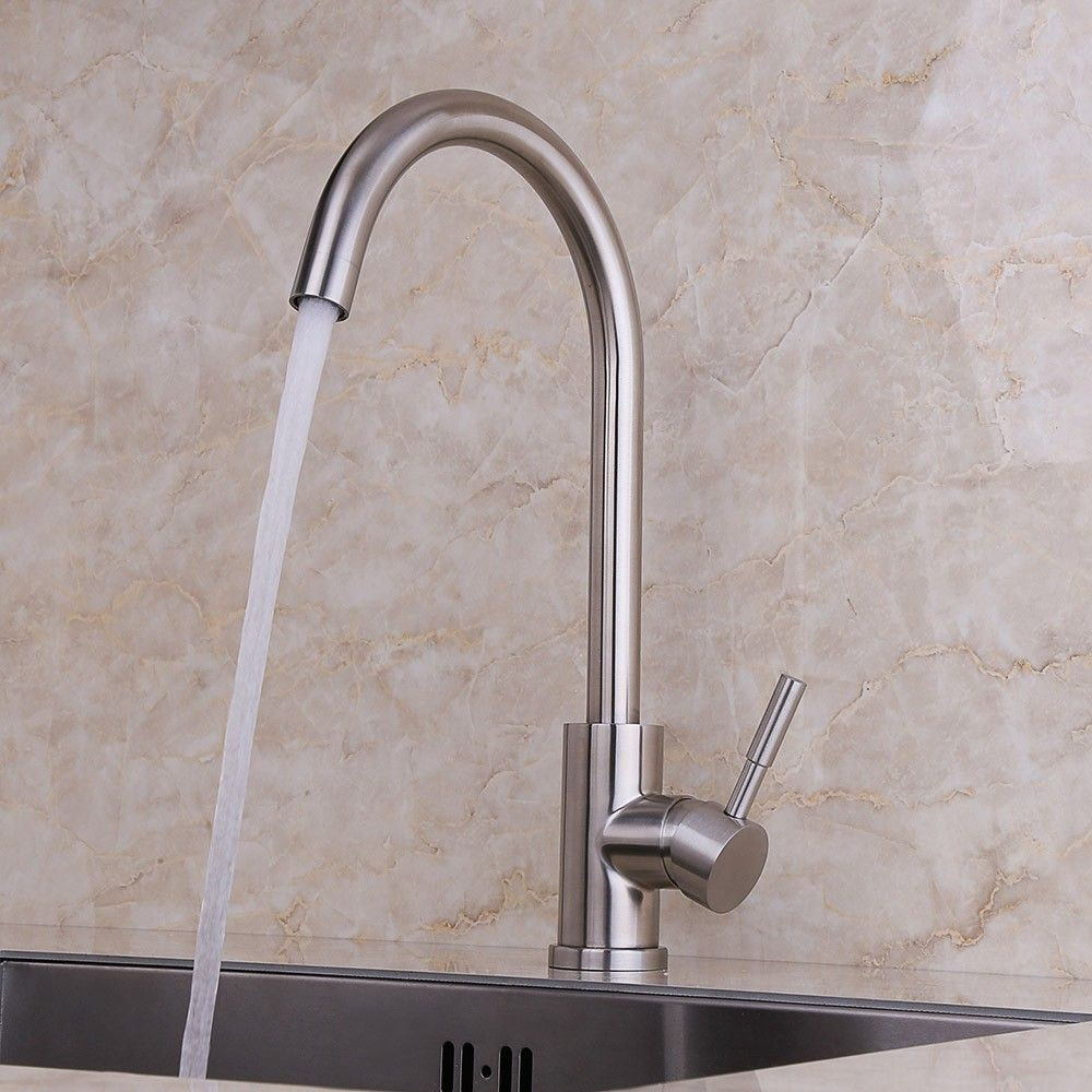 Brushed nickel arching kitchen mixer tap with single lever. Sold ...