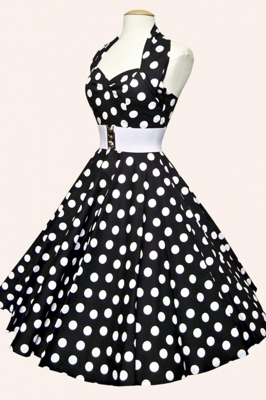 50s Retro halter Polka Dot Black White swing