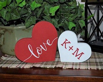 Personalize your own Valentines Day Wood Heart-Valentines Day Decoration-Initials on a Holiday Heart-Farmhouse Decor-Happy Valentine's Day