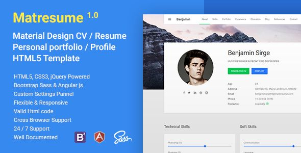 Matresume Material Cv Resume Vcard Portfolio Html Template Portfolio Psd Template Website Browser Support