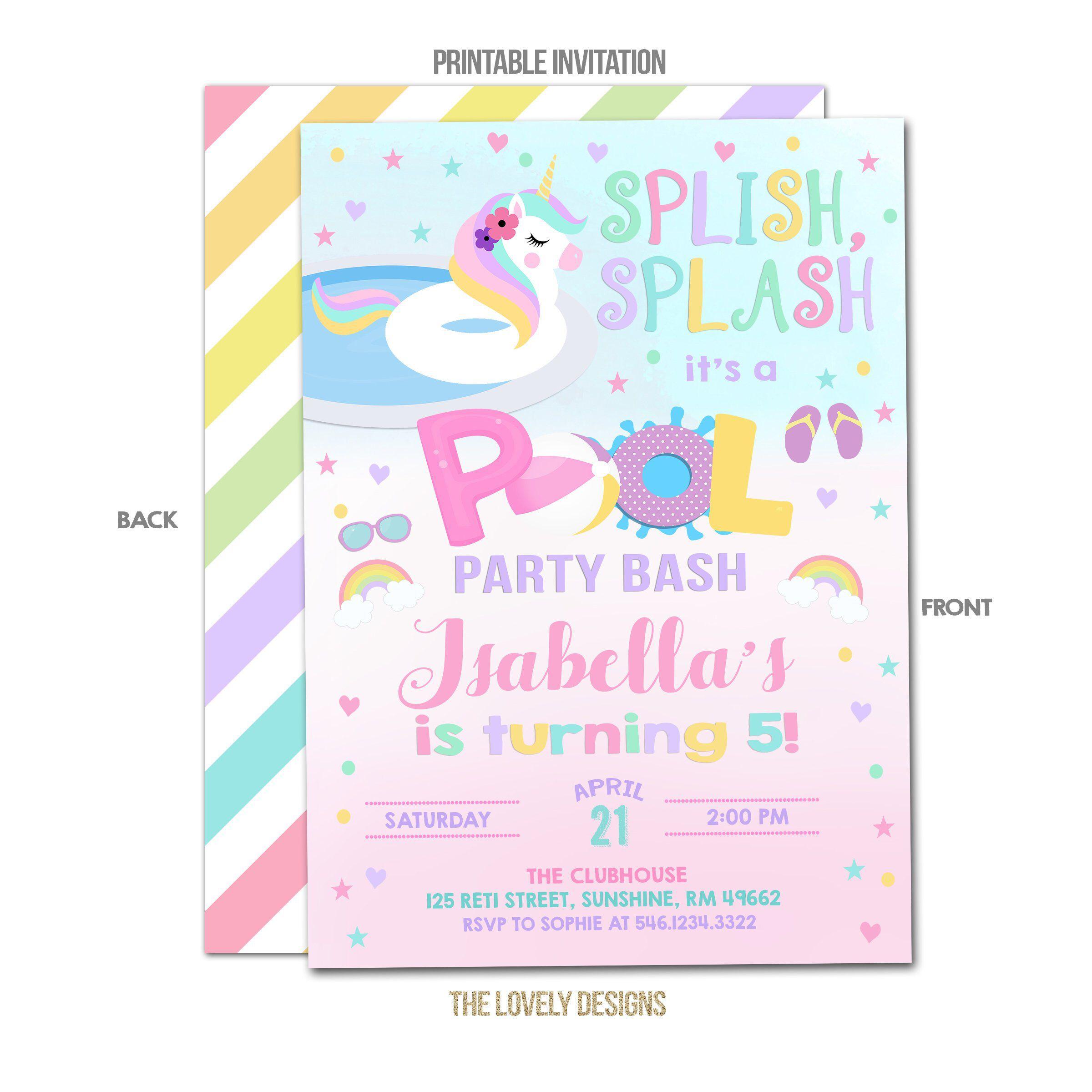 Pool Party Invitation Unicorn Pool Party Invitation Unicorn