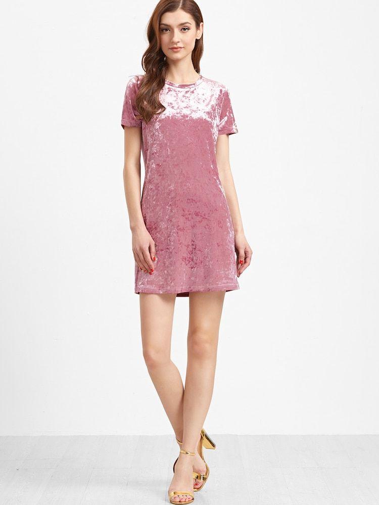 Vestido de terciopelo con manga corta rosa (con imágenes