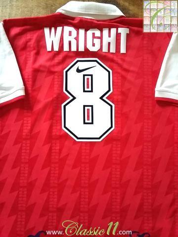 079227448bf Relive Ian Wright s 1994 1995 Premier League season with this original Nike  Arsenal home football shirt.