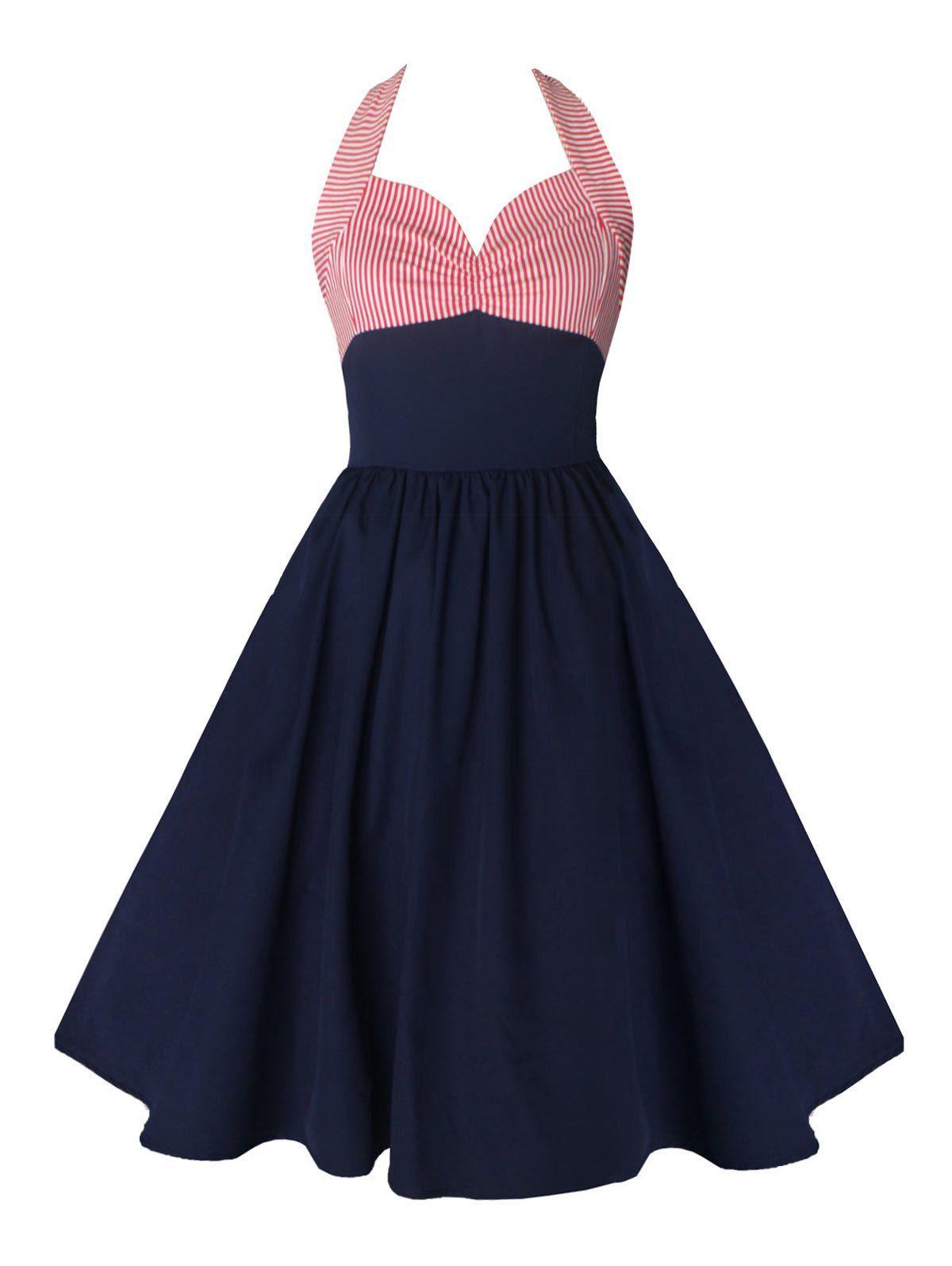 Vintage halter striped backless dress backless dresses vintage