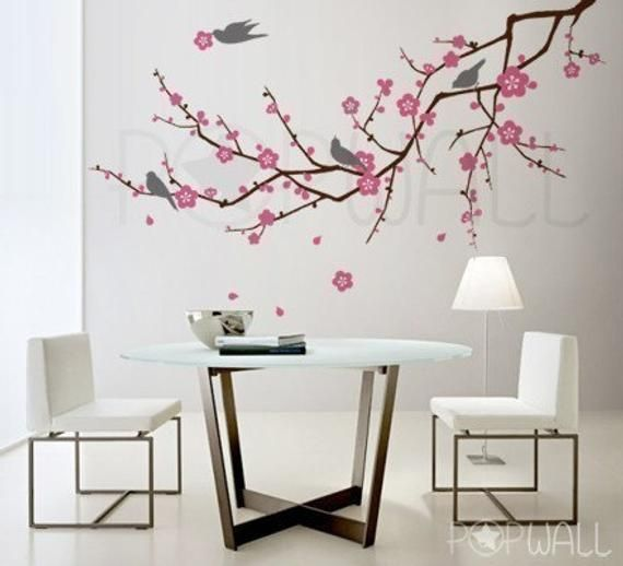 tree ,nature, birds, flower, cherry blossom branch wall decal wall