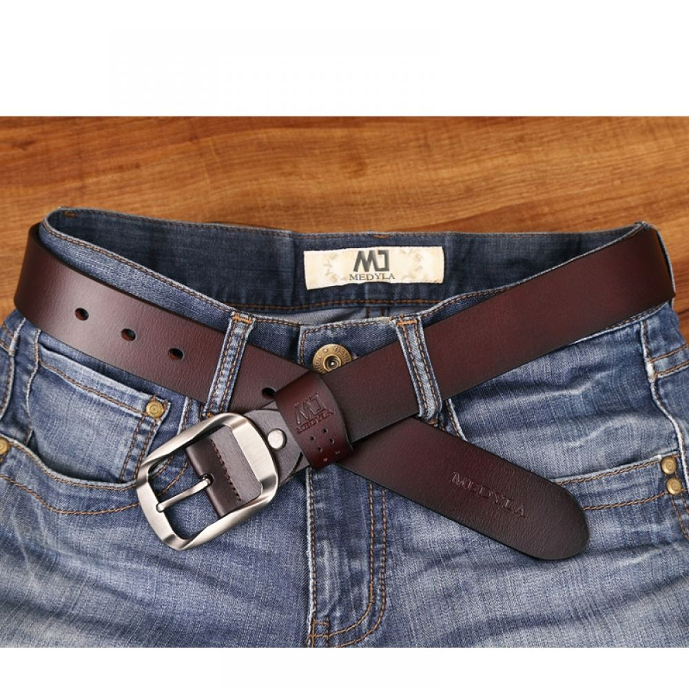 Leather Mens Belt Belts Real New Genuine Buckle Trouser Jeans Fashion Blue