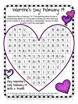 valentine 39 s day activity valentine 39 s day math games puzzles and brain teasers math board. Black Bedroom Furniture Sets. Home Design Ideas