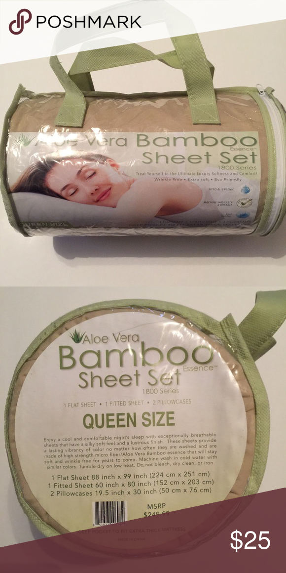 Aloe Vera Bamboo Sheet Set Queen Size Brand New Other My Posh