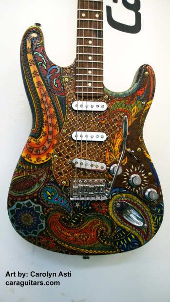 Cara Hand Etched And Stained Custom Strat Fender Licensed Body