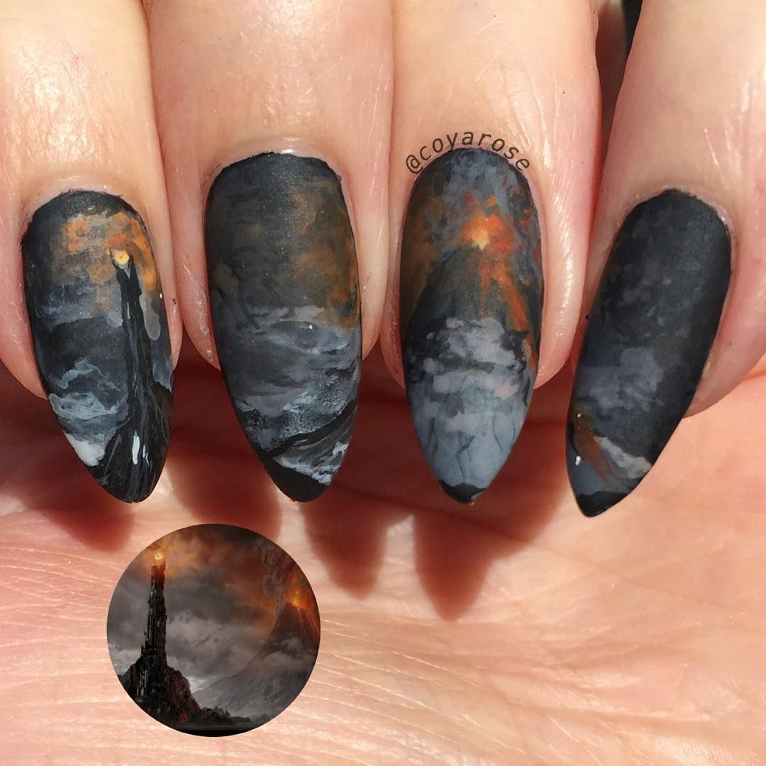 Mordor, Lord of the Rings, LOTR, nails, nail art, acrylic painting ...