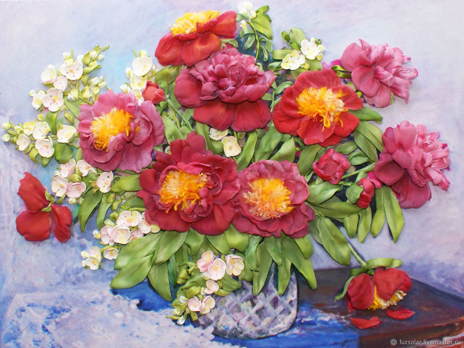 Picture Ribbons Peonies And Jasmine 40 X 30 Cm Jasmine Peony And