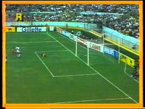 Morocco 3 Portugal 1 in 1986 in Guadalajara. Abderrazak Khairi scores after 19 minutes and its 1-0 to Morocco in Group F at the World Cup Finals.