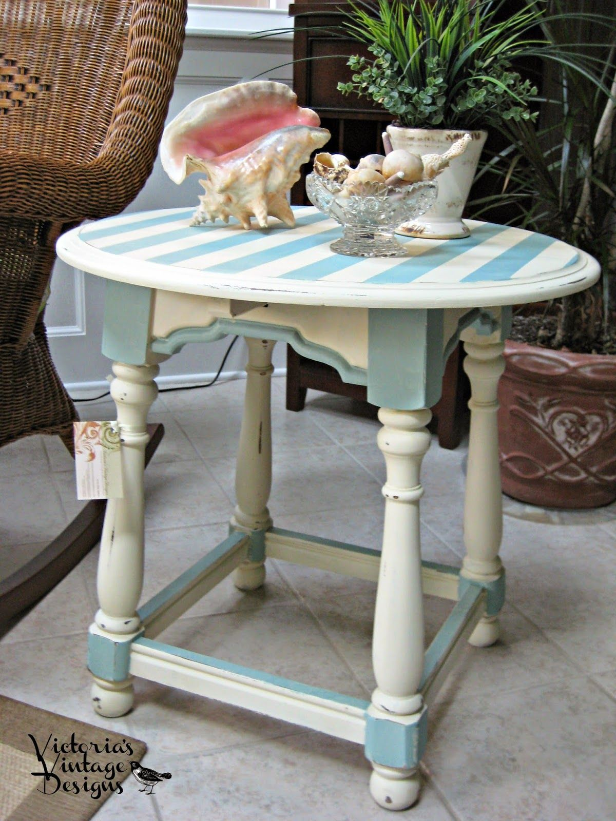 Victoria S Vintage Designs Hand Painted Beachy Round End Table Painted Side Tables Funky Furniture Furniture Trim