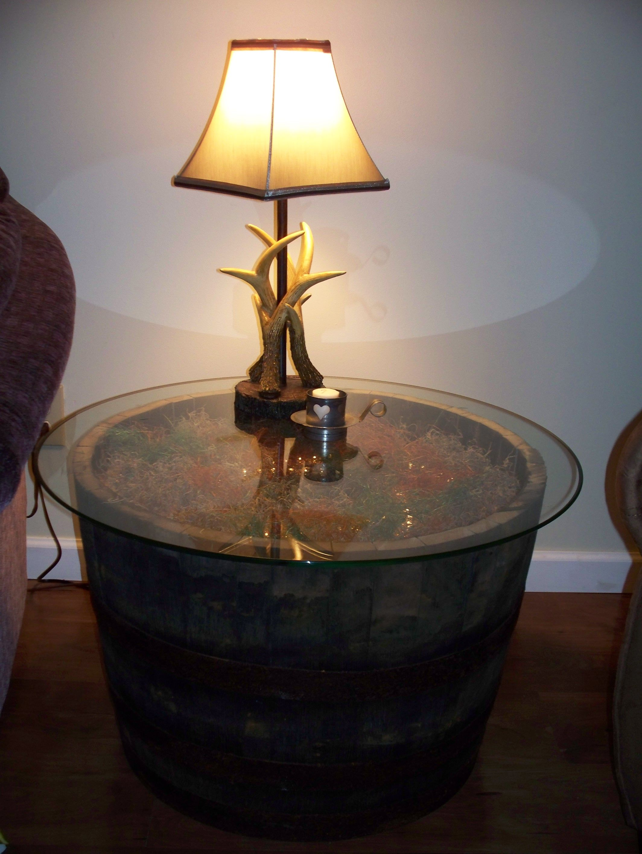 Whiskey Barrel End Table And Lamp