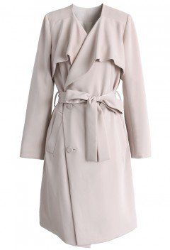 Chicwish Nude Pink Waterfall Trench Coat - Tops - Retro, Indie and Unique Fashion