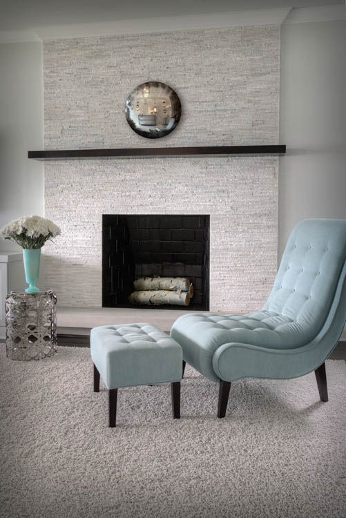 Arctic White Stone Fireplace