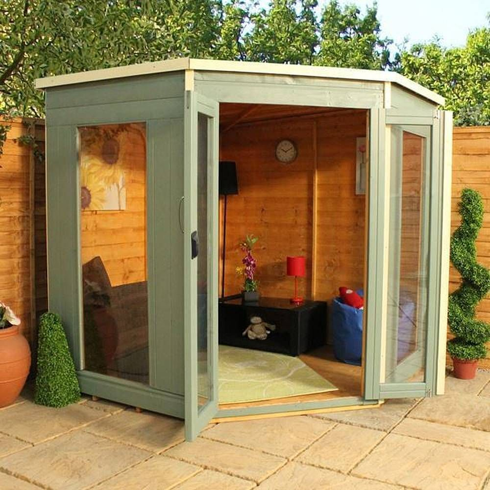 wooden summer house corner garden summerhouse 7x7 tongue groove roof and floor in garden patio - Corner Garden Sheds 7x7