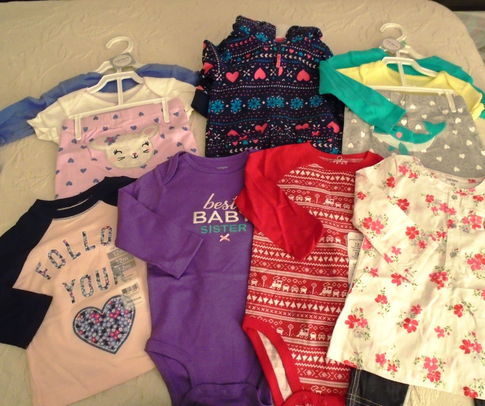 Mixed Items and Lots New 12 Pc Lot Baby Girl Clothes 12