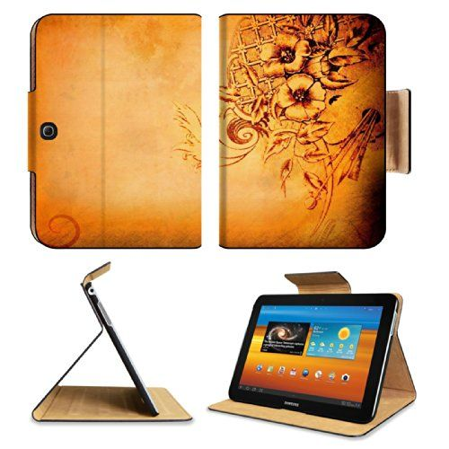 Golden Flowers Petals Floral Pattern Samsung Galaxy Tab 3 10.1 Flip Case Stand Magnetic Cover Open Ports Customized Made to Order Support Ready Premium Deluxe Pu Leather 9 7/8 Inch (250mm) X 7 1/4 Inch (183mm) X 11/16 Inch (17mm) Luxlady Galaxy Tab3 Cases Tab_10.1 three Accessories Graphic Background Covers Designed Model Folio Sleeve HD Template Designed Wallpaper Photo Jacket Wifi 16gb 32gb 64gb Luxury Protector Luxlady Galaxy Tab 10.1 Leather Flip Case ...