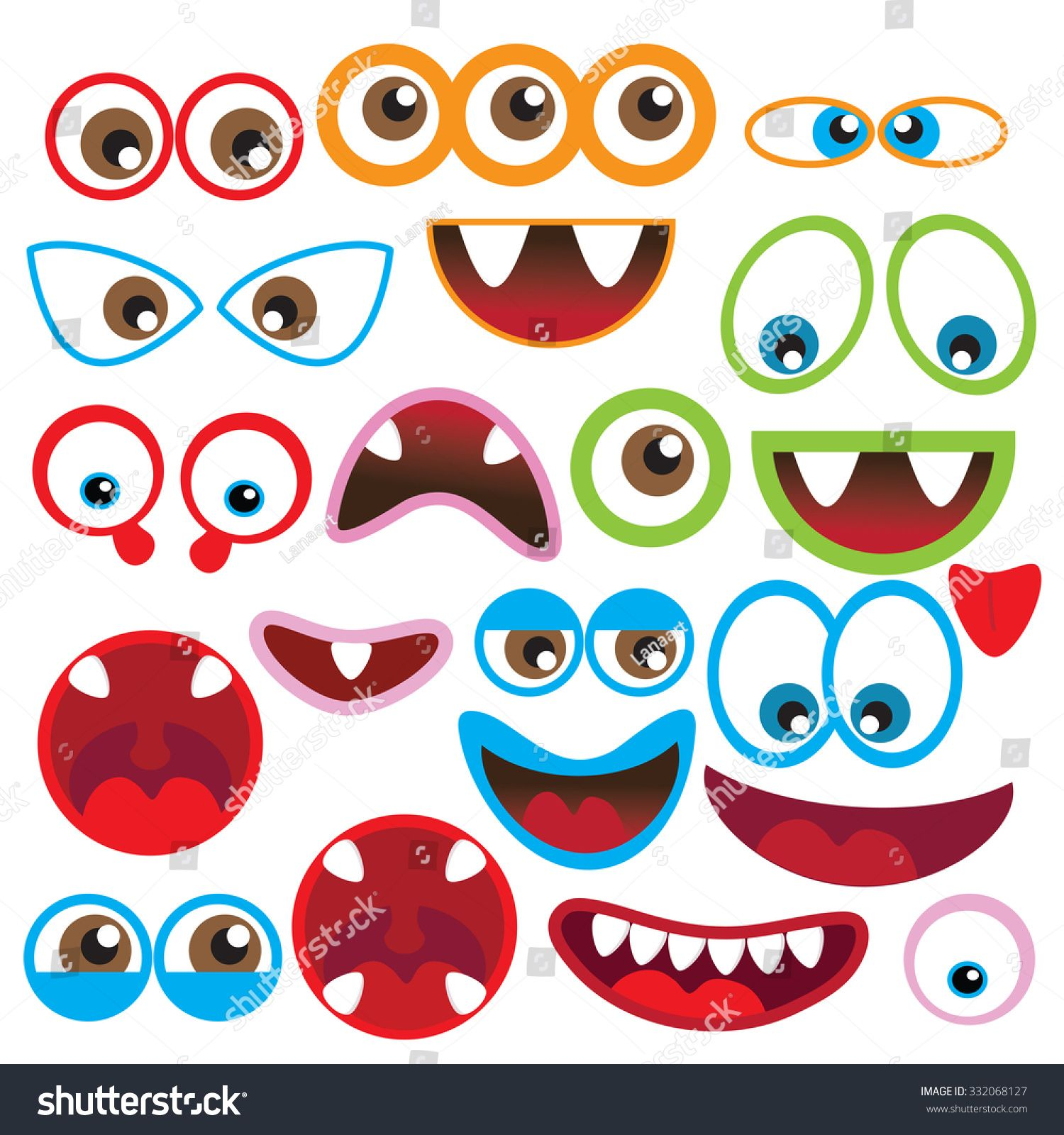 Cute Monsters Eyes And Mouth Vector Illustration